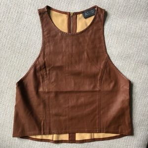 ASTR Faux-Leather Brown Crop Top
